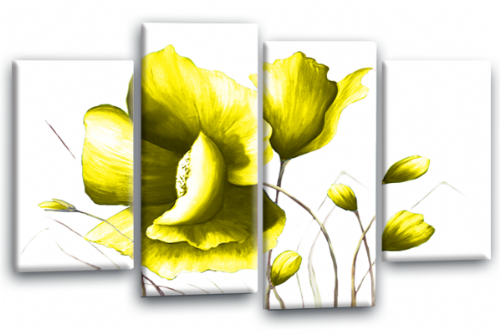 Yellow White Flower Canvas Wall Art Floral Painting Picture Print Split Panel